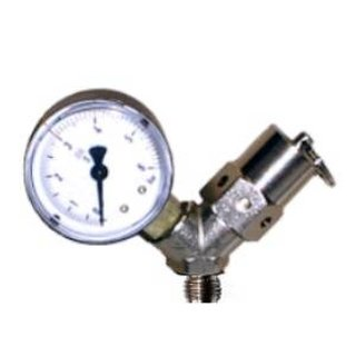 Bung valve with pressure gauge up to 2.5 bar with 1/4 external thread