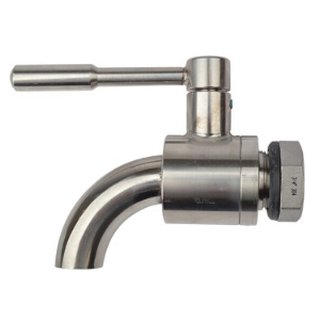 Ball valve bent stainless steel ½ , nut, seal