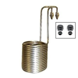 Wort cooler stainless steel STANDARD with Gardena compatible tap pieces, for 20 to 40 liters, with swan neck
