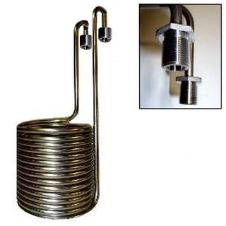 Wort cooler stainless steel BIG with 5/8 threads, for approx. 50 liters, with swan neck