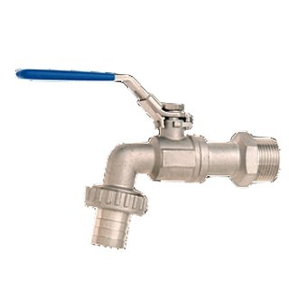 Outlet ball valve stainless steel 3/4 , blue handle, with hose nozzle