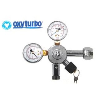 Pressure reducer Oxyturbo for soft drinks up to 7 bar, 2 manometers for bottle contents and working pressure